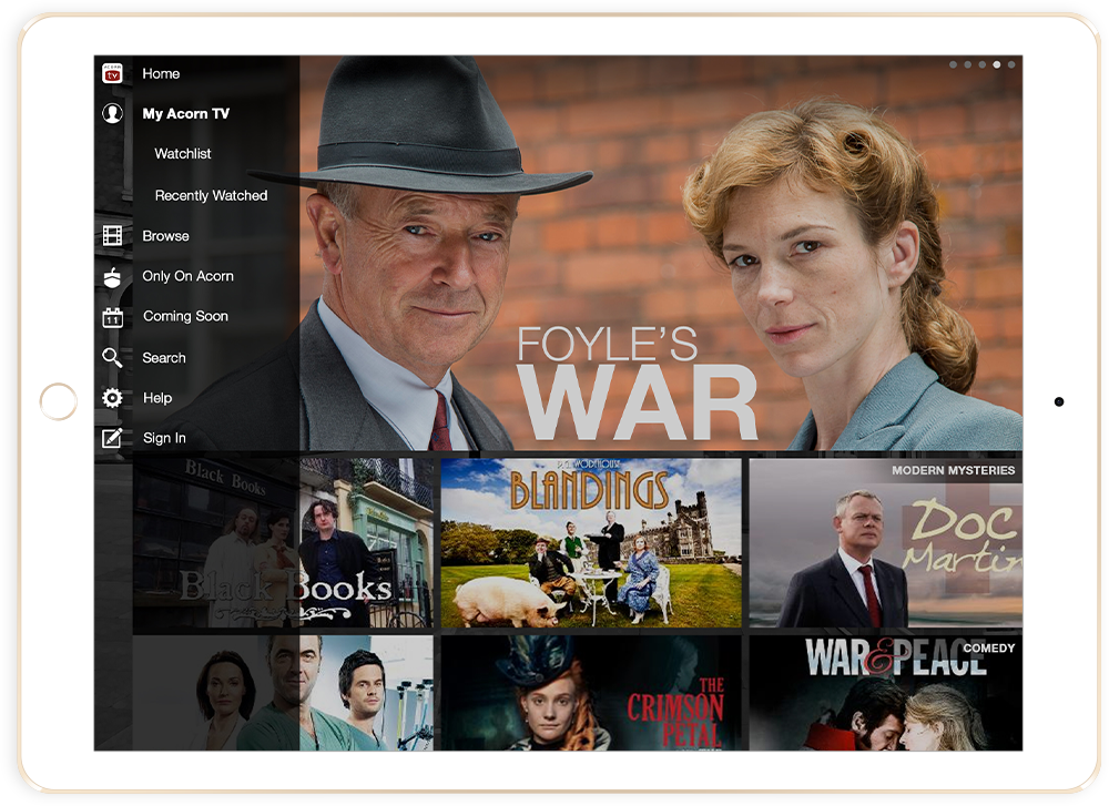 Acorn TV Foyles War iPad App Design